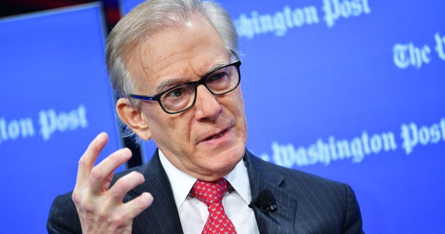 Washington Post columnist David Ignatius speaks during an interview with Tim Berners-Lee, the inventor of the World Wide Web, at the Washington Post in Washington, DC on March 5, 2019. (Photo by MANDEL NGAN / AFP) (Photo by MANDEL NGAN/AFP via Getty Images)